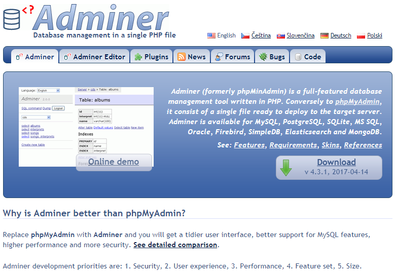 Em seguida, substitua o arquivo index.html em /var/www/, copiando em  seguida o Adminer nesse diretório e renomeando-o para index.php.